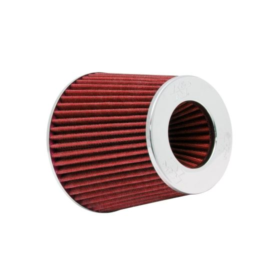 KN Universal Air Filter Chrome Round Tapered Red -