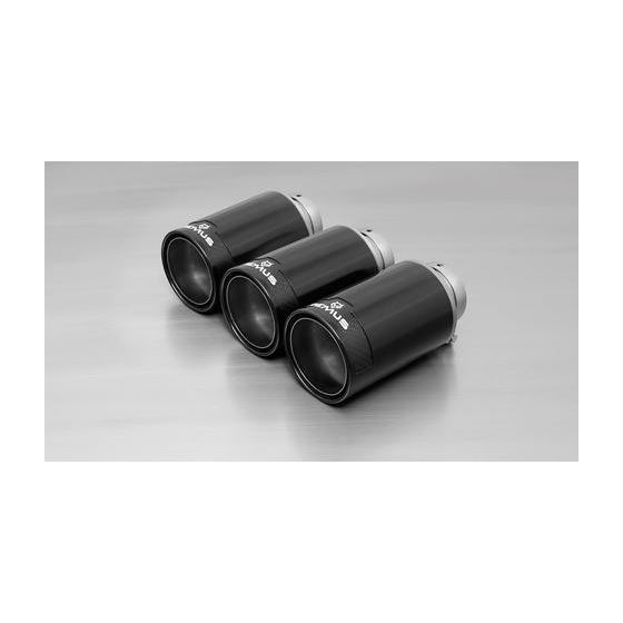 REMUS tail pipe set 3 Carbon tail pipes 102 mm angled, Titanium internal