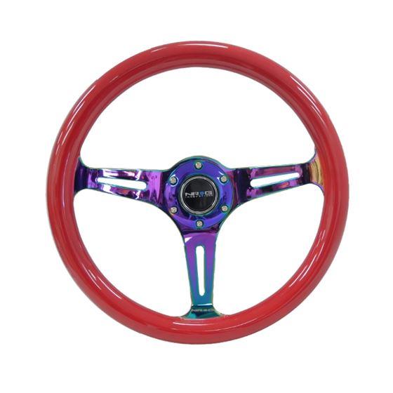 NRG Classic Wood Grain Steering Wheel (350mm) Red
